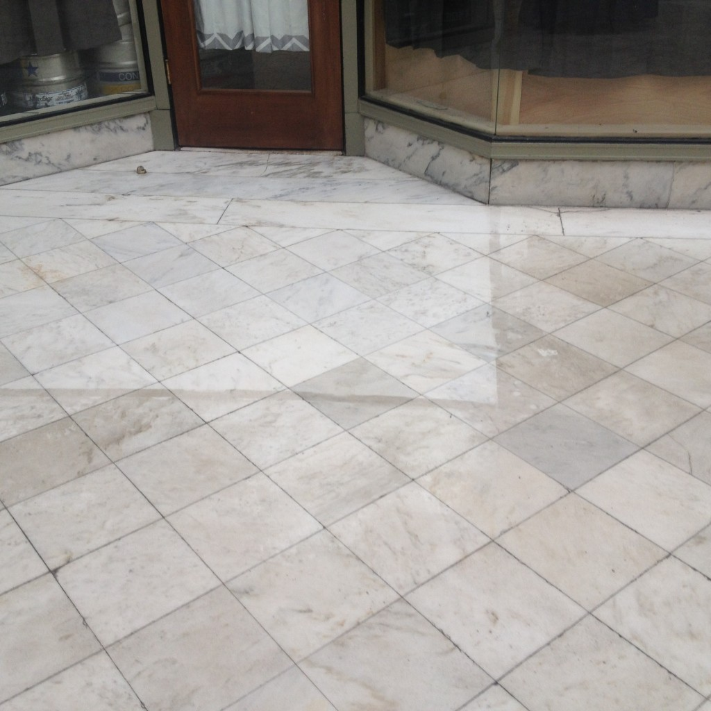 Marble Floor test spot With KLENZTONE #3.  Spring 2015