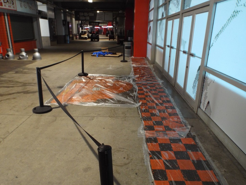 Before Shot of Cleaning Paint off of First Energy Stadium.  We used K&E Coating Remover.