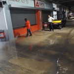 Cleaning Browns Stadium.